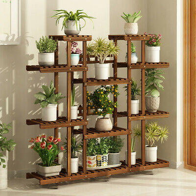 X-Large Wooden Plant Stand Indoor Outdoor Patio Garden Planter Flower Pot Shelf Outdoor Shelf Stand