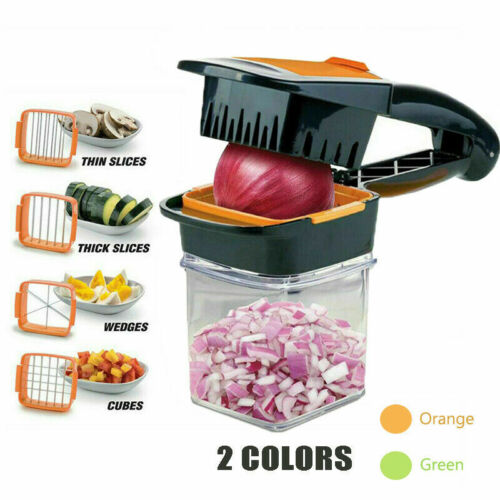 NEW Food Vegetable Chopper Dicer 3 Stainless Steel Blades Co