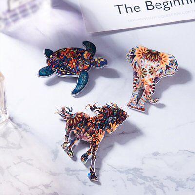 Women Costume Jewelry Handmade Animal Printing Horse Elephant Brooch Pin -