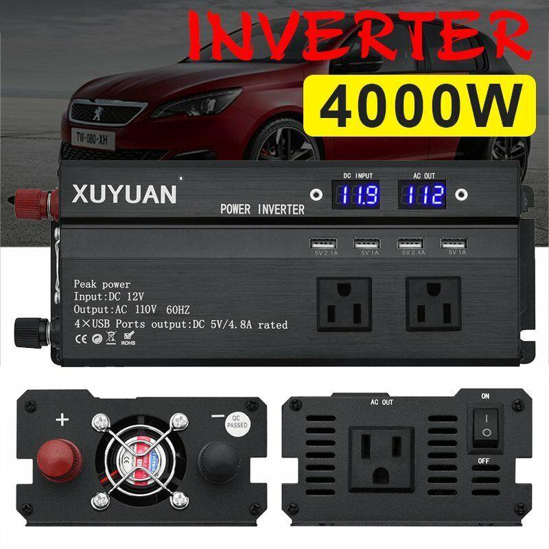 3000/4000/5000W Power Inverter Peak 12V To 110V 2 AC Outlets RV Solar Converter