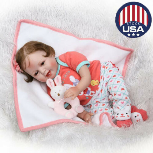 Newborn Reborn Baby Doll Silicone Vinyl Cloth Body Girl Dolls Kids Gifts  22''
