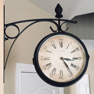 Charming Station Wall Clock, Double-Sided Vintage Style