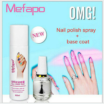 Nail Polish Spray + Base Coat Easy To Washing Spray Nail Varnish Fast Drying