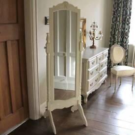 Free standing cream shabby chic mirror