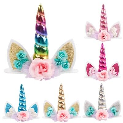 Unicorn Topper Cute Baby Birthday Cake Decor Horn Ear Flower Party Ornament - Birthday Props