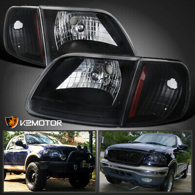 For 1997-2003 Ford F150 Expedition Black Headlights+Corner Turn Signal Lamps