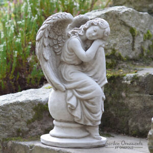 SLEEPING ANGEL Hand Cast Stone Garden Ornament Statue Grave Memorial ⧫onefold-uk