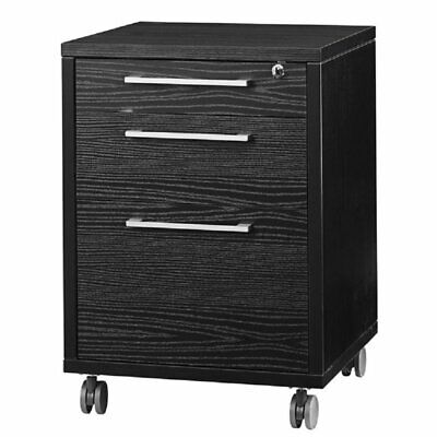 Pemberly Row 3 Drawer Wood Mobile Filing Cabinet In Black