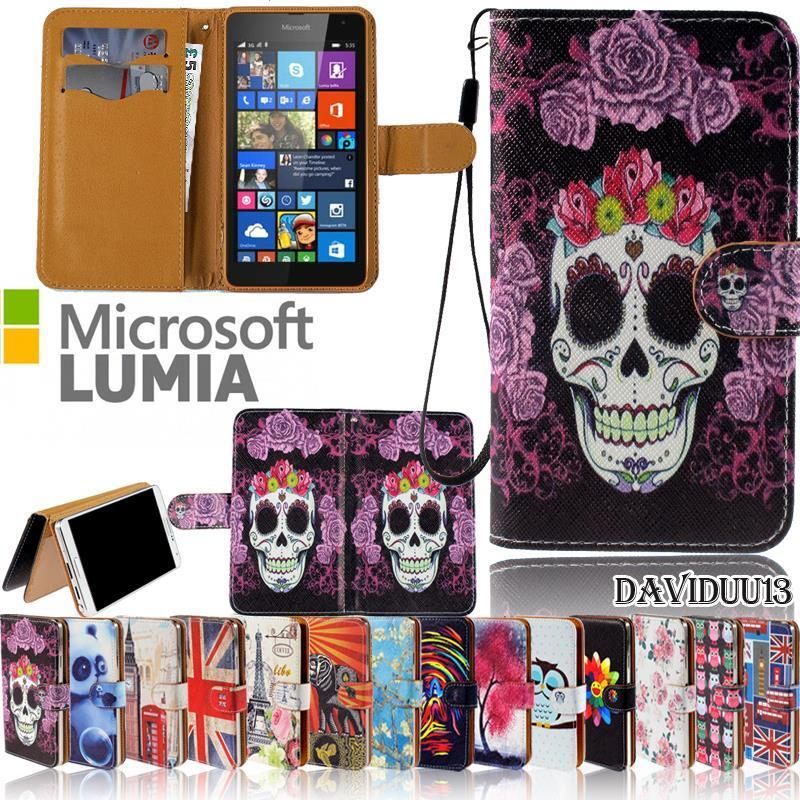 Flip Wallet Card Stand Leather Case Cover For Various Microsoft Lumia Phones