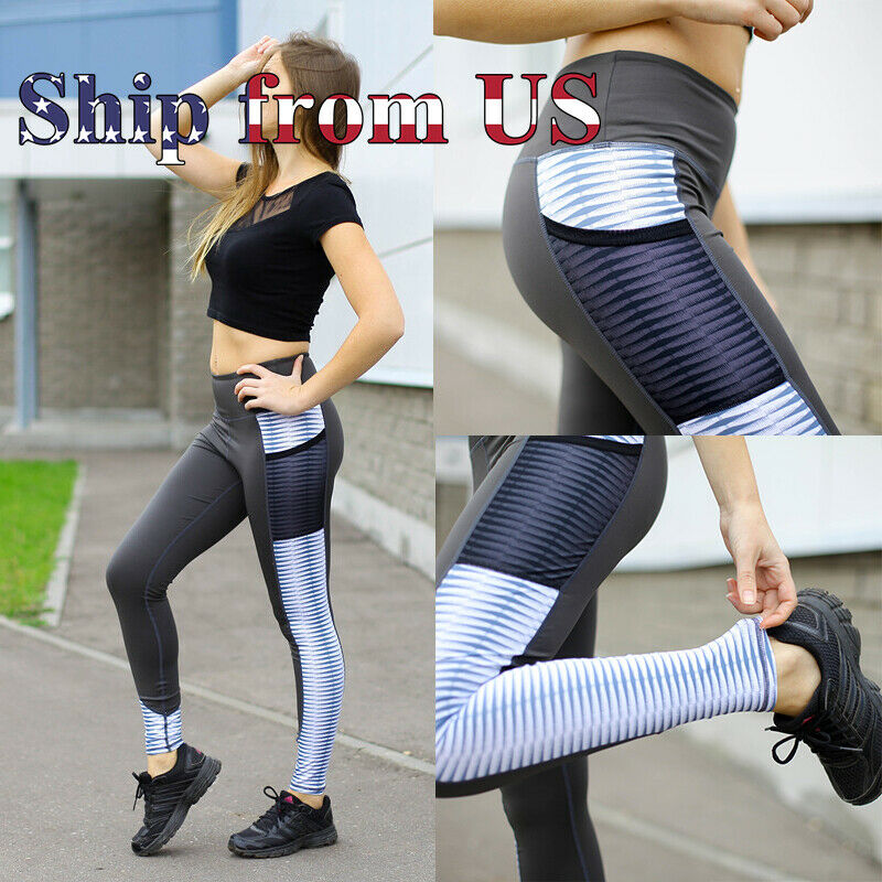 US Push Up Stripe Fitness Leggings Pockets Sport Yoga Gym Pants Workout Trousers Activewear
