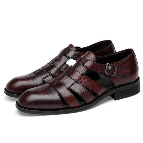 Men/'s Dress Formal Sandals Shoes Hollow out Buckle Leather Flats Gentleman Vogue