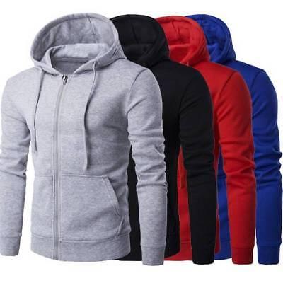 Mens Zip Up Hoodie Classic Winter Hooded Sweatshirt Jacket Coat Tops with -