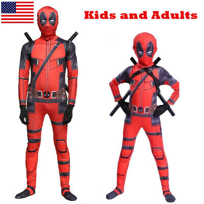 US! Adults Kids Deadpool Man Spandex Lycra Zentai Halloween Costume Cosplay Prop
