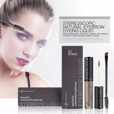 Pudaier 4 Colors Liquid Eyebrow Enhancer With Brush Waterproof Natural Makeup