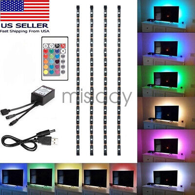 4Pc USB Powered RGB 5050 LED Strip Lighting for TV Computer Background Light US