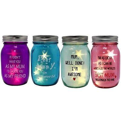 Mum Light Up Star Jars – Glass Mason Best Pink Purple Blue Mummy Mother Mum Gift (Light Up Mason Jars)