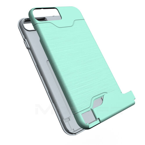 For iPhone 6S 7 8 Plus Card Pocket Shockproof Ultra Slim Rugged Hard Case Cover