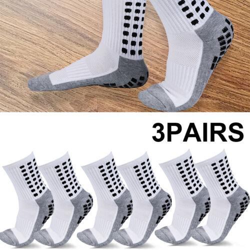 3 Pairs Sport Socks Anti Slip W/Grip Soccer Men Football Bas