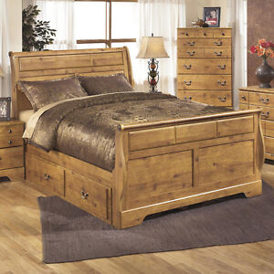 Queen Ashley Sleigh bed with under bed storage and dresser
