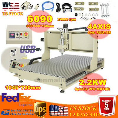 Steel Usb 4 Axis 2.2kw Cnc 6090z Router Engraving Machine For Metal Copper Brass