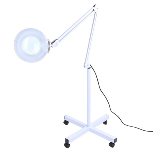 5x diopter rolling floor stand magnifier lamp glass magnifying facial. Black Bedroom Furniture Sets. Home Design Ideas