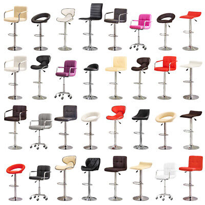 2* Faux Leather PU Bar Stool Kitchen Breakfast Swivel Foot Rest Gas Lift Chairs