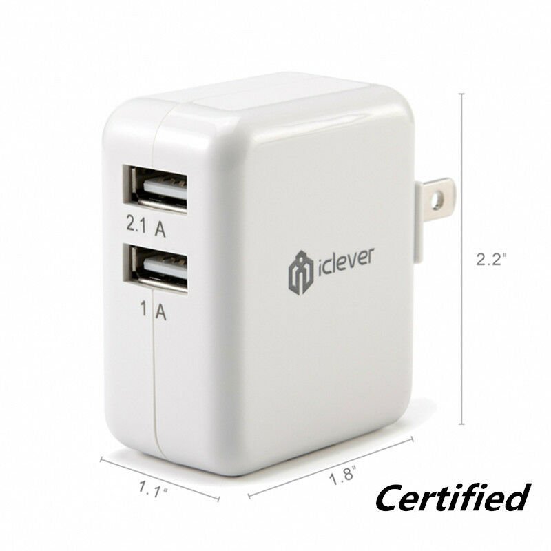 iClever Dual USB Wall Charger Portable Travel Charger for iP