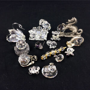 Lot 15 Crystal Figurines Retired Collectibles Animals Swan Frog