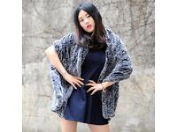 DAYMISFURRY -- Knitted Rex Rabbit Fur Lady Shawl - Black Frost