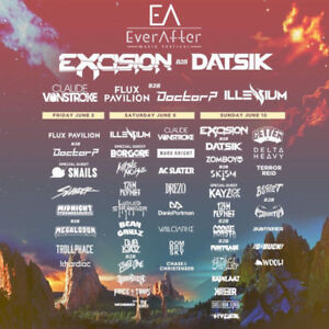 EVER AFTER MUSIC FESTIVAL HARD COPY TICKETS - 3 DAY GA JUNE 8-10