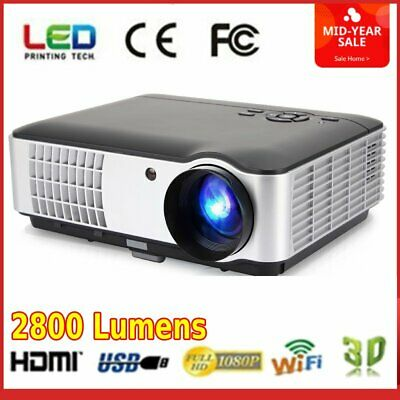 RD806A LED Projector 2800Lumen Beamer 3D HD 1080P Portable LCD Home Theatre BT