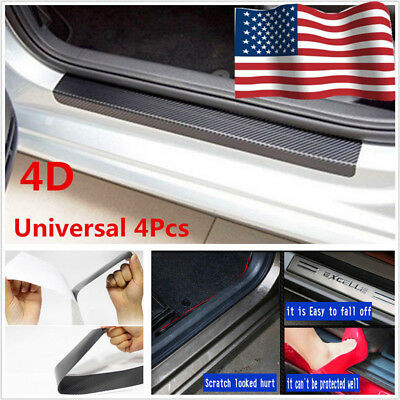 US Accessories Carbon Fiber Car Scuff Plate Door Sill 4D Sticker Panel Protector