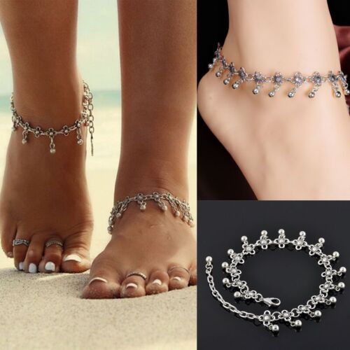 Green gem and Tibetan silver anklet