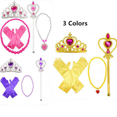 5pcs Princess Belle Dress up Party Accessory Gift:Gloves Wand Tiara Necklace Set - Dress Up Gloves