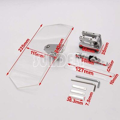 New Motorcycle Clip-on Clear Windshield WindScreen Extension Deflector Universal