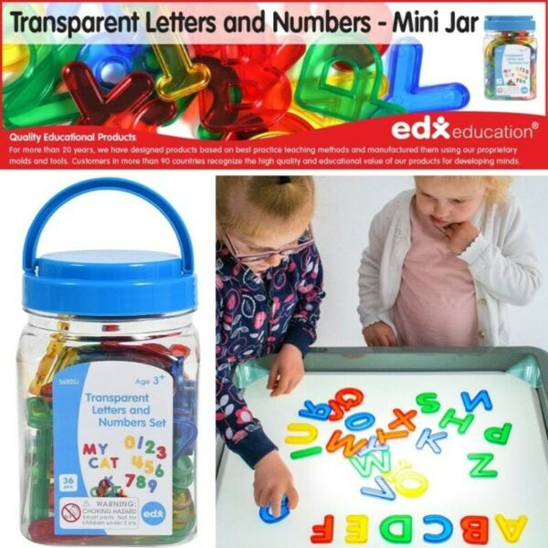 BNIP: Edx Education Transparent Letters and Numbers Set - Mini Jar - Letters and Numbers Plastic