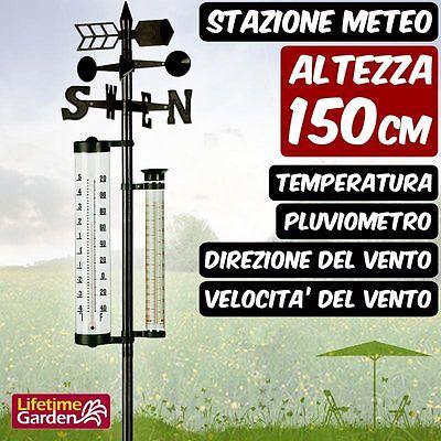 Stazione Meteo Giardino Con Pluviometro Indicatore Di Direzione Anemometro 150cm