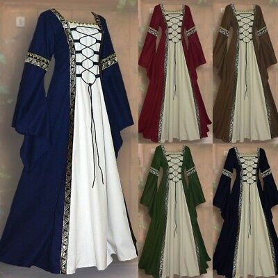 Women's Vintage Medieval Dress Floor Length Renaissance Gothic Cosplay  Dress - Medieval Clothing For Women