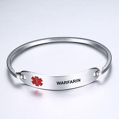 Stainless Steel Women Kid Medical Alert Bracelet Bangle Cuff Emergency WARFARIN