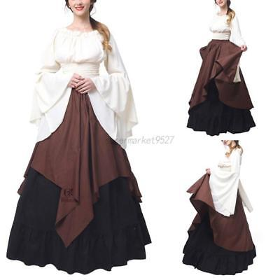 Boho Halloween Costume (Women Medieval Boho Peasant Wench Halloween Costume Renaissance Dress)