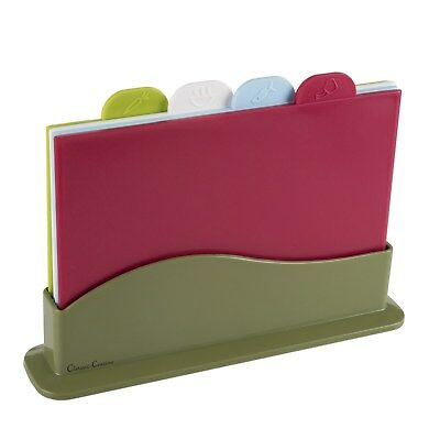 (Plastic Cutting Board Set 4 Color Coded Boards Dual Sided FDA Approved)