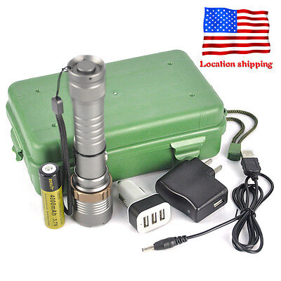 Zoomable 8000LM XM-L T6 LED Flashlight Rechargeable Torch 3 Port USB Car Charger
