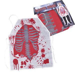 Horror-Blanco-Delantal-con-Sangre-MANCHAS-Adulto-Disfraz-Halloween