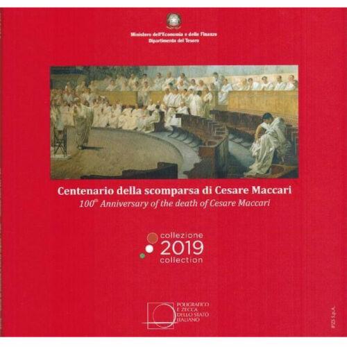 2019 Italy 9-Coin EURO BU Set incl. € 5 Silver BU Coin Cesare Maccari 100 Years