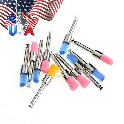 Us 100pcs Dental Colorful Nylon Bowl Polishing Polisher Prophy Brushes Flat Type