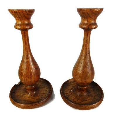 Pair of Wooden Vintage Curved Candlesticks 21cm