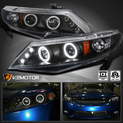 For 2006-2011 Honda Civic 4-Door Sedan LED Halo Projector Headlights Black Pair - Honda Civic Halo Headlights