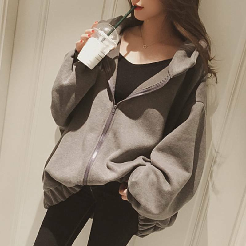 Купить Unbranded - Women Girls Zipper Hooded Jacket Baggy Loose Oversized Hoodie Coat Casual Winter