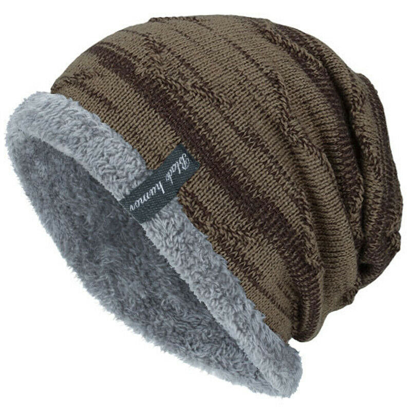 Unisex Men Knit Slouch Beanie Outdoor Lined Cap Snow