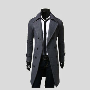 Men's Stylish Trench Coat Winter Long Jacket Double Breasted Overcoat
